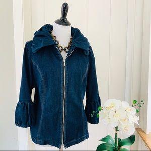VENEZIA Dark Blue Denim Zipper Jean Jacket